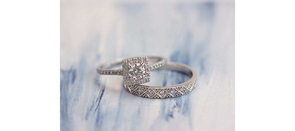 or du monde engagement ring with diamond paving