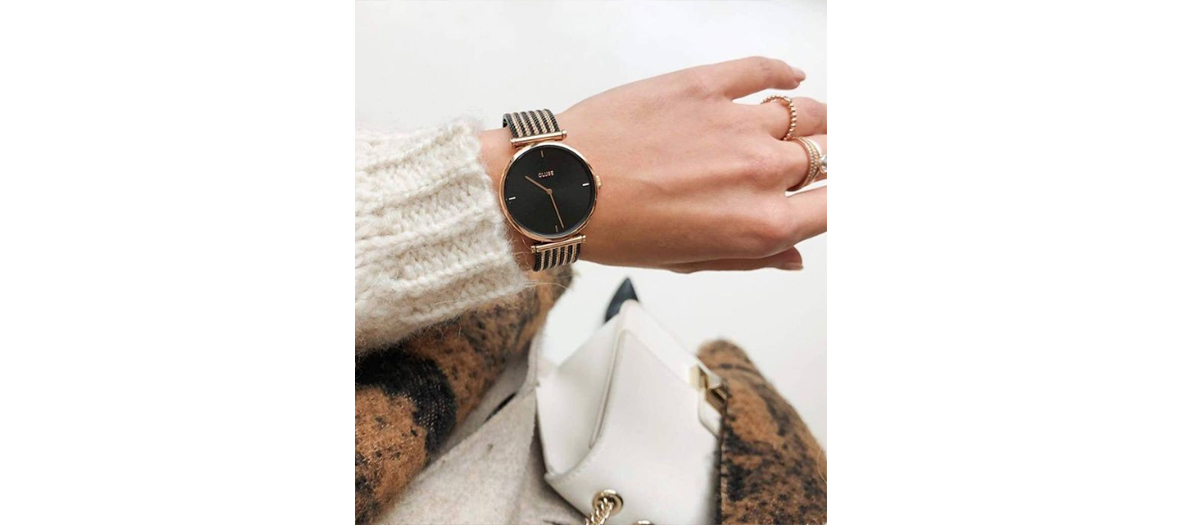 The watch with black metal strap and rose gold Triomph at 119,95 €