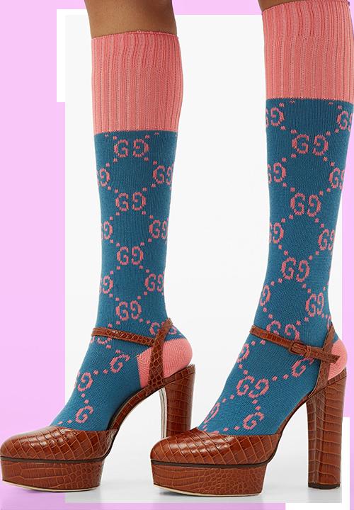 Les Chaussettes en coton mélangé à GG en intarsia chez Gucci à 100 €