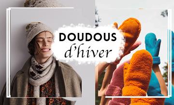Tendances accessoires hivers 2019 2020 avec des chaussettes chaudes, écharpes, bonnets, boots fourrées, Casquette en lainage, moufles fourrées, bob doudou
