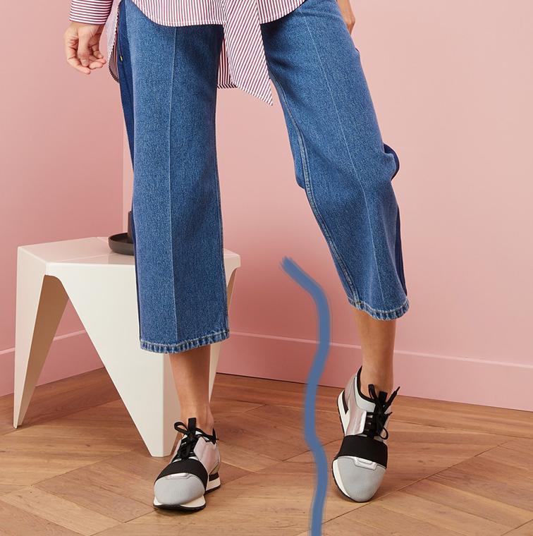 Sneakers tissu, semelle en caoutchouc