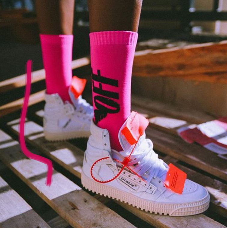Sneakers blanches avec touches d'orange