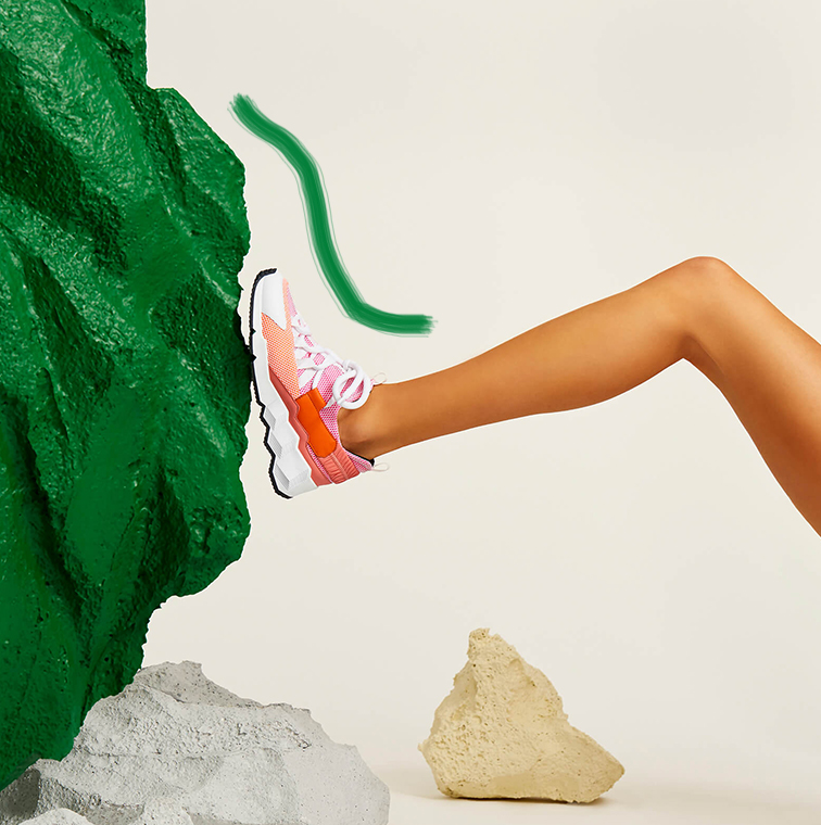 Sneakers running, semelle architecturale