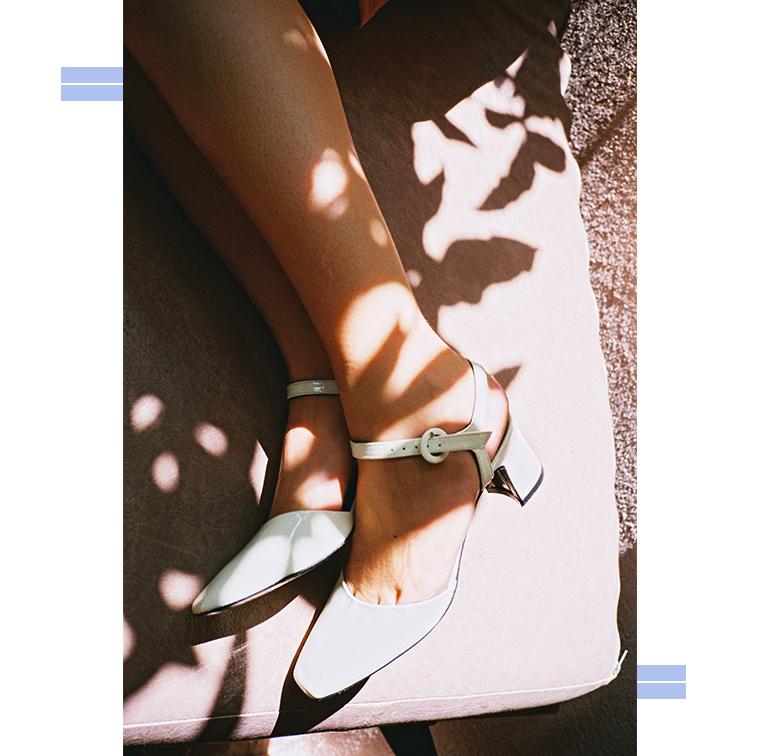 Chaussures à talons carrés en cuir vernis blanc