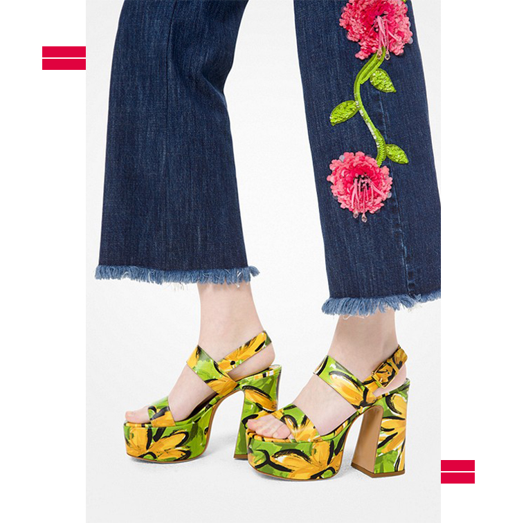 Chaussures à talons avec plateforme imprimé fleurs