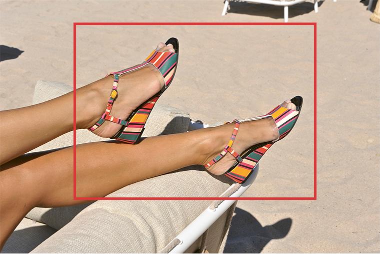 Sandales compensées multicolore