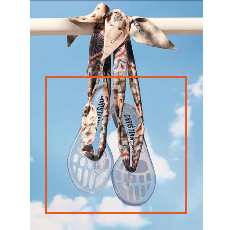 Sandales transparentes avec foulard en soie