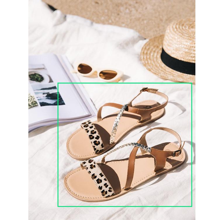 Sandales en cuir à imprimé léopard