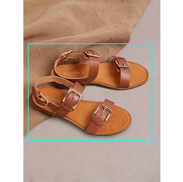 Sandales en cuir marron