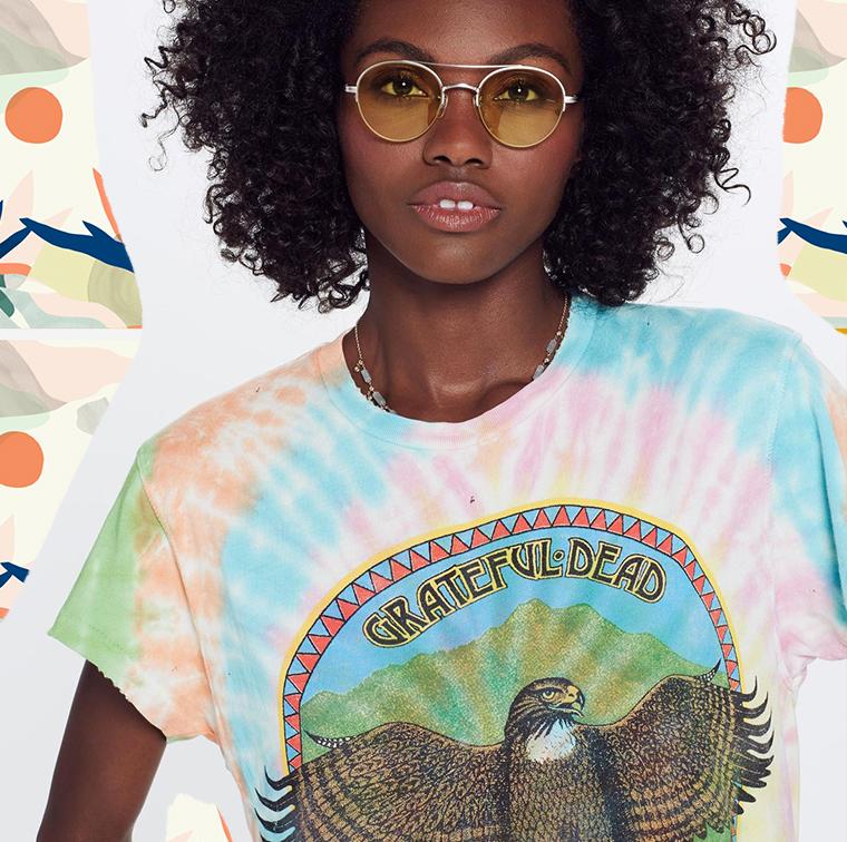 T-shirt rock motif aigle