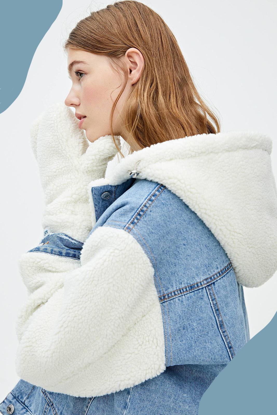 Veste en jean contrastante avec gants inclus