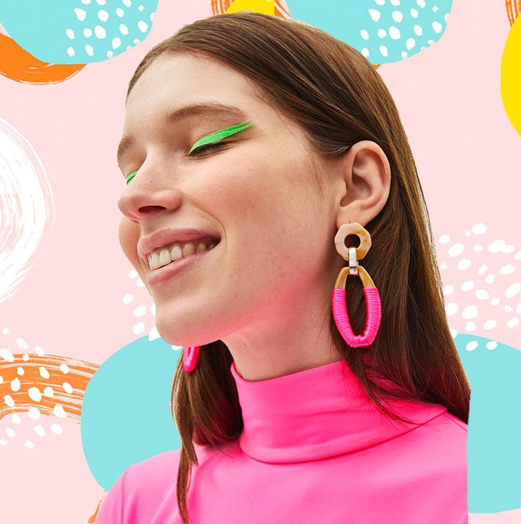 Boucles d'oreilles maxi fluo
