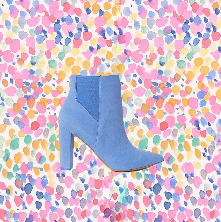 Bottines couleur ciel bleu