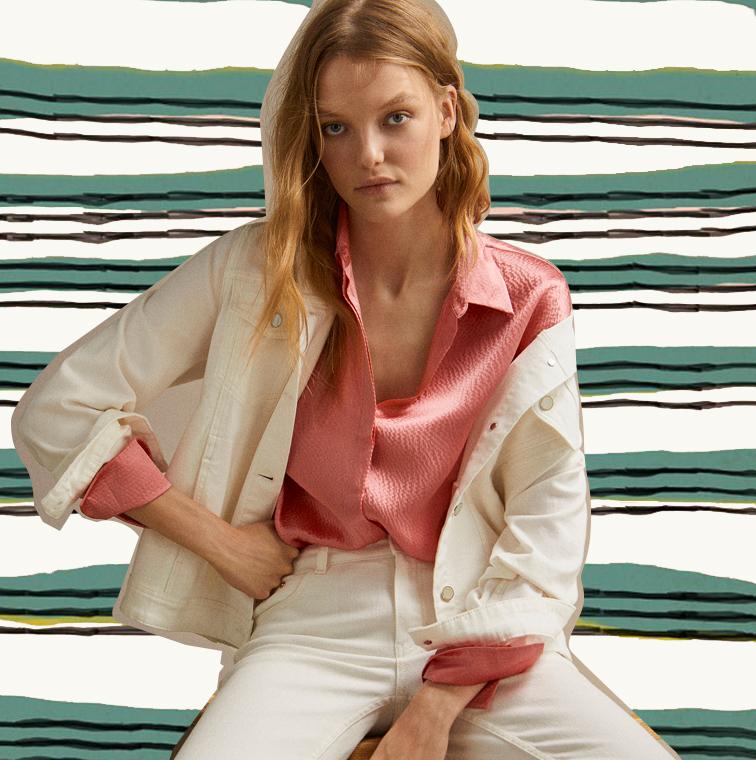Chemisier rose et veste blanche