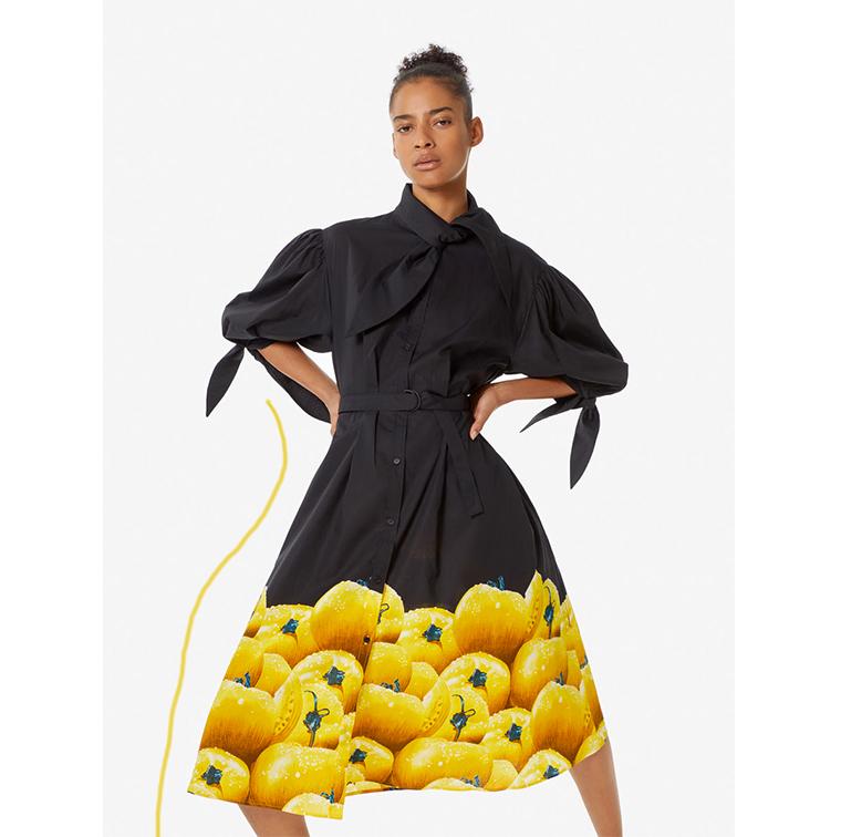 Robe chemise imprimé tomates