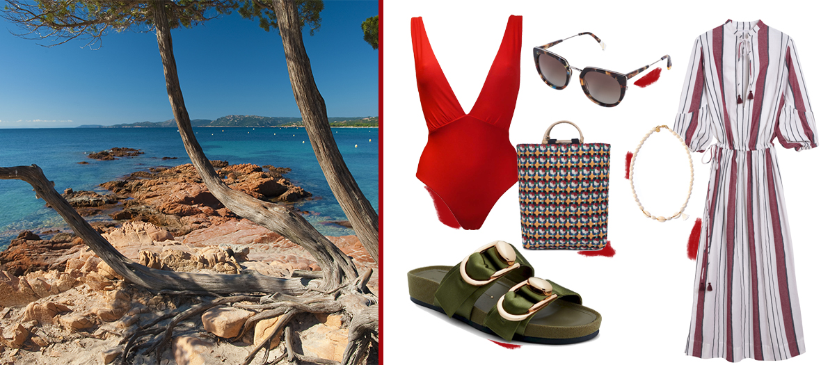 Robe Mare Di Latte, sac MKT Studio, collier Polder, sandales Stella Luna, lunettes Waiting for the sun, maillot Calarena