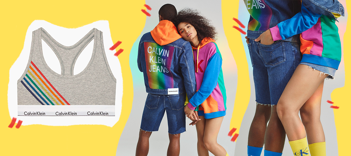 Grey brassière with rainbow flag, embroidered denim jacket,  multicolored sweat-shirt with hoodies