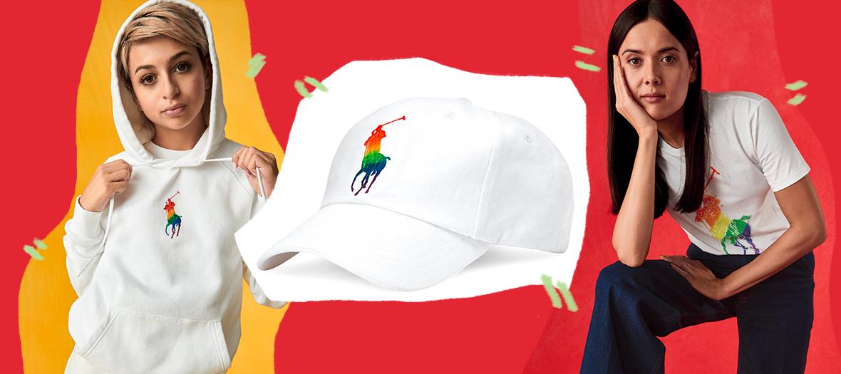 Sweat à capuche, casquette, t-shirt avec logo en arc-en-ciel