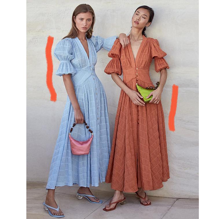 Robes longues avec grosse manches bleue ou terracotta