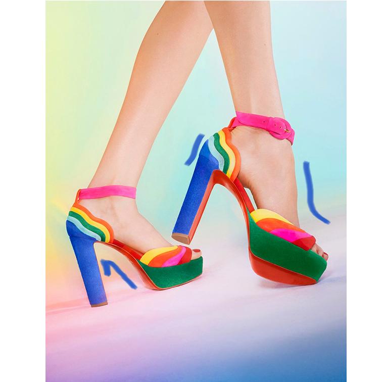 Chaussures à talons multicolores