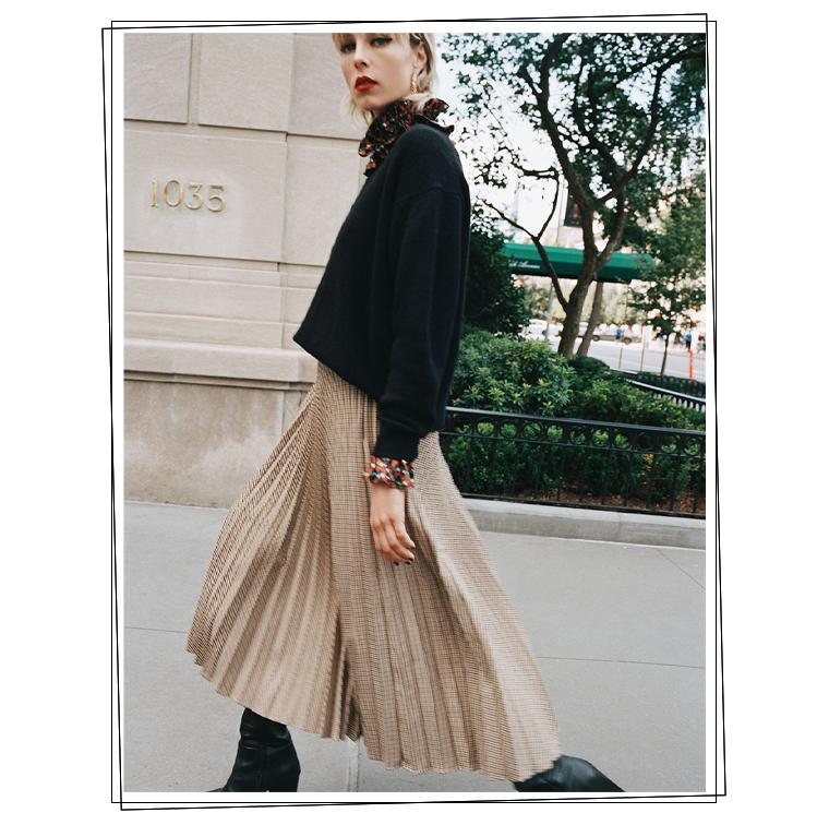 La Jupe plissée à carreaux de Zara
