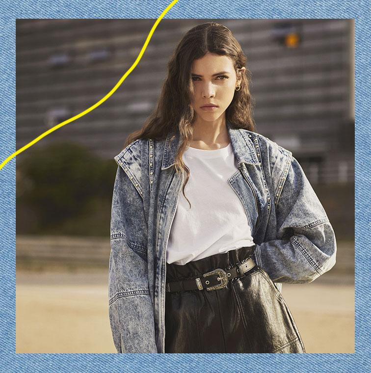 La Veste en jean à studs façon blouson 80's de Bershka