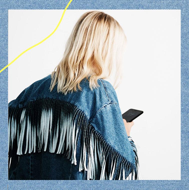 La Veste en jean à franges de Maje