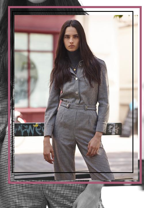 Combinaison pantalon à carreaux Maje Idéalement portée avec des mocassins à talons hauts