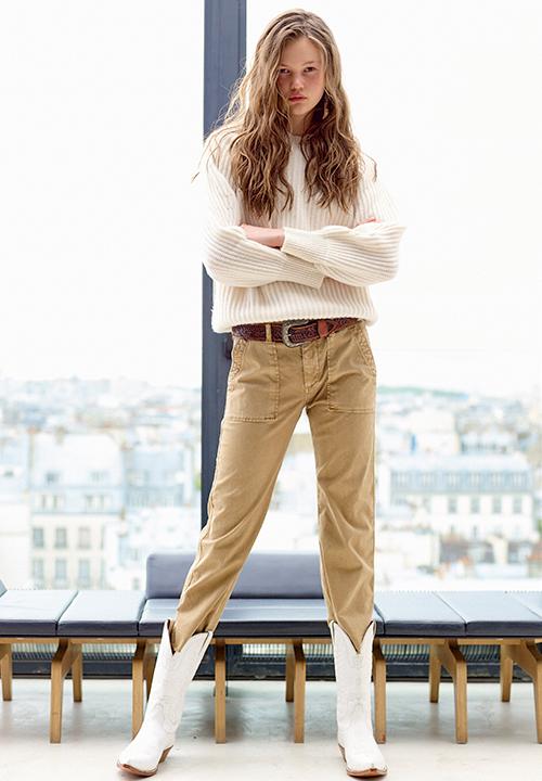 Le Pantalon Safari beige de Acquaverde à 140 €