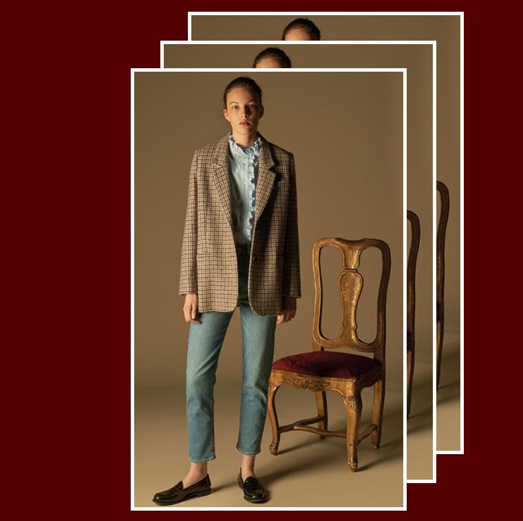 Veste en laine pied-de-coq Verone à petits carreaux signée Pablo