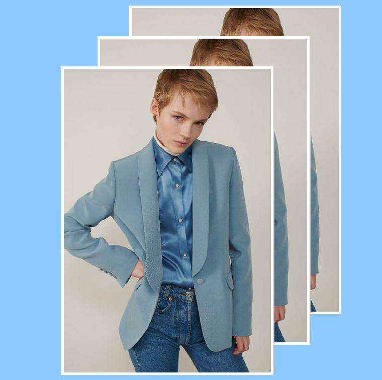 Veste bleus satinés avec un col châle au revers satin de Paul & Joe