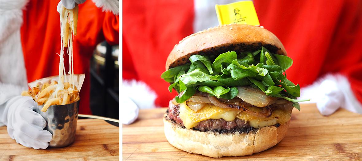 Burger avec viande de bœuf d'Aubrac, gouda à la truffe, oignons caramélisés, pousses d'épinard, crème de truffe et frites