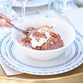 Recette mousse au chocolat avec crème anglaise, éclats d'amandes caramélisées et de biscuit spéculoos