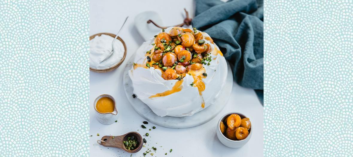 La recette du dessert Palvova aux mirabelles