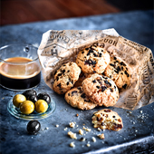 Le Cookie aux pepites de Chocolat avec des olives et du café