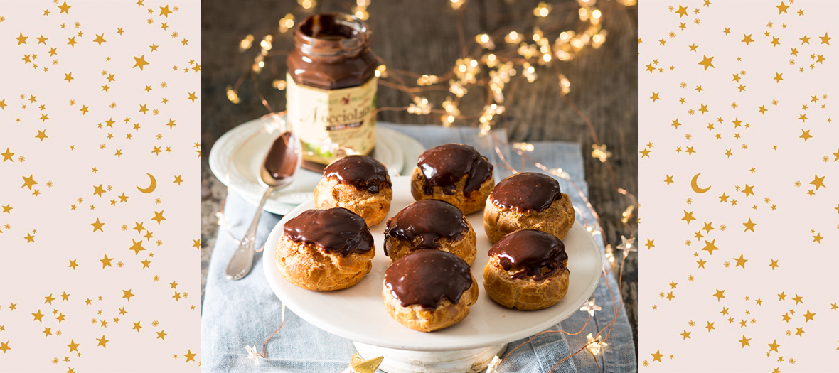 Les Choux Choco Noisettes avec lait, beurre, sucre, sel, farine, œufs, chocolat, Nocciolata