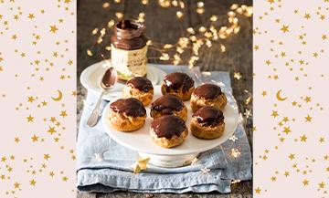 Les Choux Choco Noisettes avec lait, beurre, sucre, sel, farine, œufs, chocolat, Nocciolata