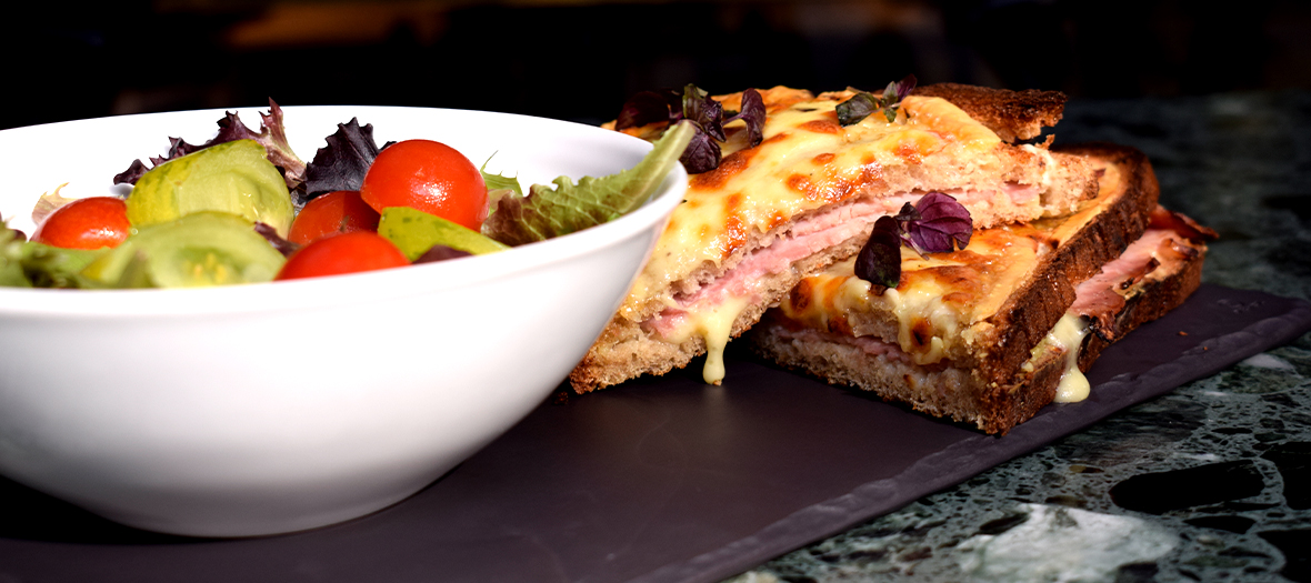 The Croque Monsieur with grated truffle and grated gruyère cheese and a bowl of Juliette's chef Juliette's salad