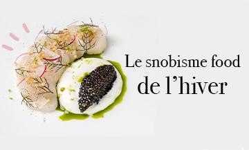 Le Tartare Caviar du chef étoilé Tomy Gousset avec des pieces de Saint Jacques, du caviar d'Aquitaine, riz soufflé, crème crue, radis rouges, citron vert, cerfeuil, Sel et poivre