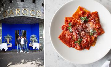 Façade du restaurant Da Roco et un plat de ravioli du chef Federico Schiavon