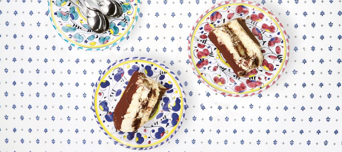le Tigramisu de La Cucina di Big Mamma  avec crème liquide chantilly.jaunes d'œufs, café, mascarpone, cacao