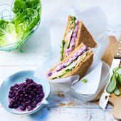 Recette club sandwich au thon, myrtilles, salade romaine et concombre