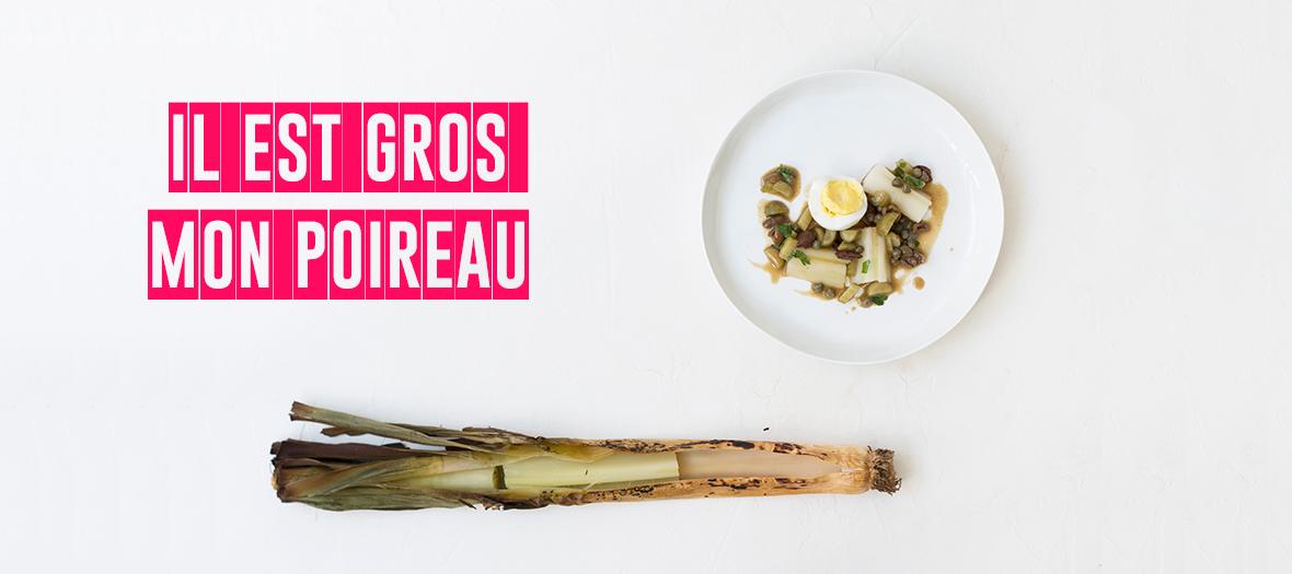 Plat de poireau cuit à la vinaigrette et aux œufs du chef Romain Meder