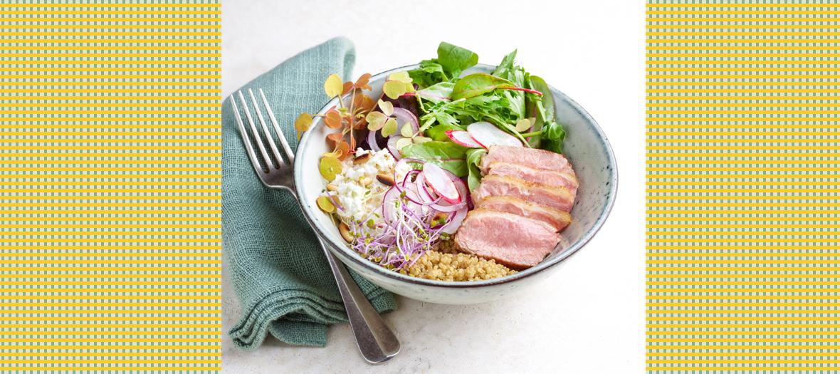 Recette salade quinoa et noisette d'agneau