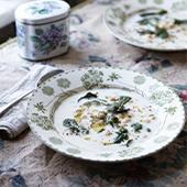 la soupe toyga au yaourt, pois chiches, orge perlé,  fécule de maïs, le jaune d'œuf, beurre à la menthe, menthe séchée, jus de citron