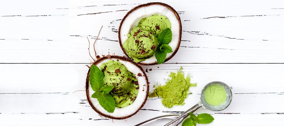 Recette glace à l'avocat et boisson végétal coco
