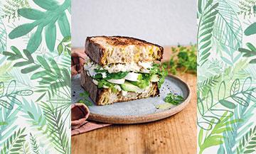 Recette sandwich veggie avec chèvre frais, champignons, pois chiches, cébette et avocat