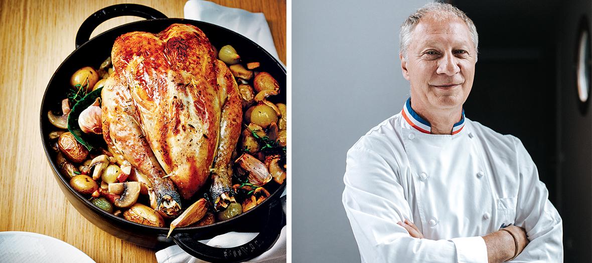 Portrait de Eric Fréchon et poulet roti
