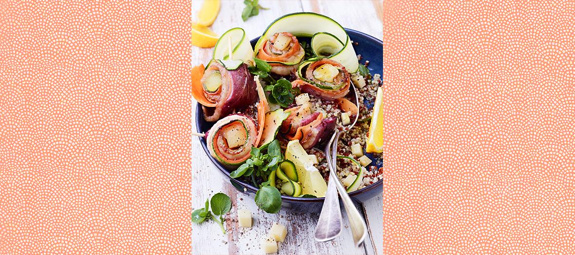 Recette salade de brochettes avec canard, courgettes, carottes et quinoa