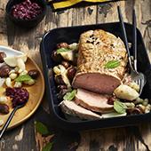 le rôti de veau aux châtaignes et topinambours avec crosnes, marrons de la cheffe Flora Mikula